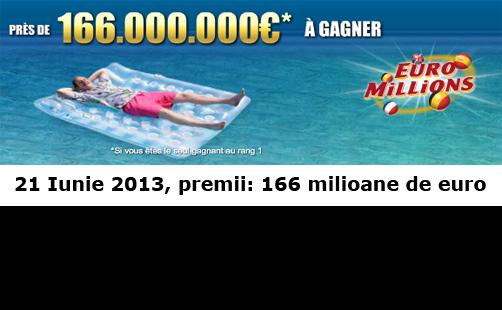 166 milioane de euro la loteria euromillions